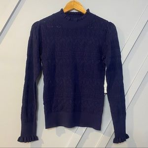 Halogen frill neck stitch sweater blue crochet